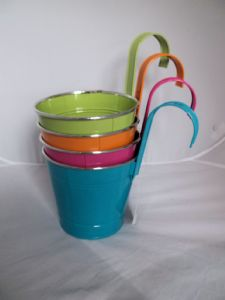 Bright Coloured Bucket Style Planters Novelty Garden Accessory Gift Idea Home Decor